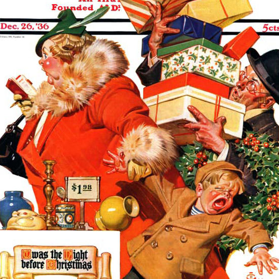 JC Leyendecker Saturday Evening Post Xmas 1936_12_26 Copyright crop | Best of 1930s Ad and Cover Art