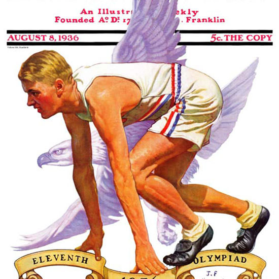 JF Kernan Saturday Evening Post 11 Olympiad 1936_08_08 Copyright crop | Best of 1930s Ad and Cover Art