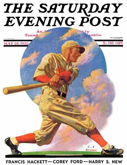 JF Kernan Saturday Evening Post Baseball Batter 1932_05_28 | The Saturday Evening Post Graphic Art Covers 1931-1969