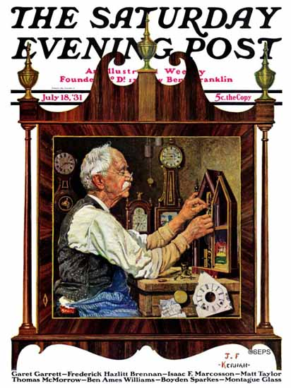 JF Kernan Saturday Evening Post Clockmaker 1931_07_18 | The Saturday Evening Post Graphic Art Covers 1931-1969