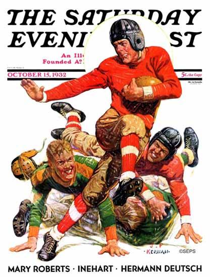 JF Kernan Saturday Evening Post College Football 1932_10_15   The Saturday Evening Post Graphic Art Covers 1931-1969