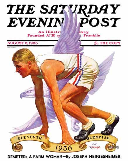 JF Kernan Saturday Evening Post Eleventh Olympiad 1936_08_08 | The Saturday Evening Post Graphic Art Covers 1931-1969