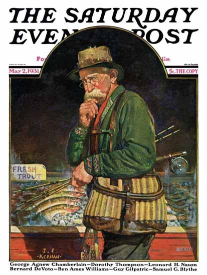 JF Kernan Saturday Evening Post Fishing at the Market 1931_05_02 | The Saturday Evening Post Graphic Art Covers 1931-1969