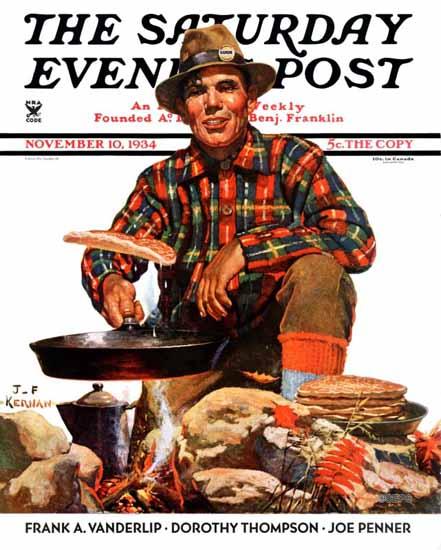 JF Kernan Saturday Evening Post Flapjacks 1934_11_10 | The Saturday Evening Post Graphic Art Covers 1931-1969