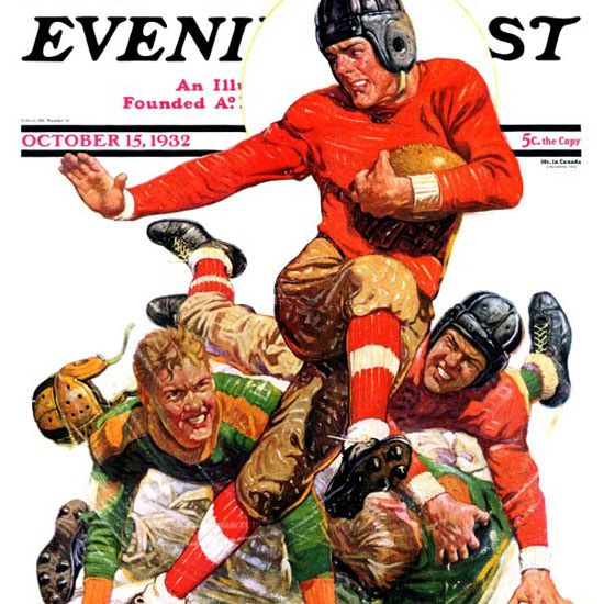 JF Kernan Saturday Evening Post Football 1932_10_15 Copyright crop | Best of 1930s Ad and Cover Art