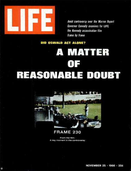 JFK Assassination Film Frame 230 25 Nov 1966 Copyright Life Magazine | Life Magazine Color Photo Covers 1937-1970