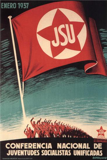 JSU Conferencia Nacional 1937 Spain Espana | Vintage War Propaganda Posters 1891-1970