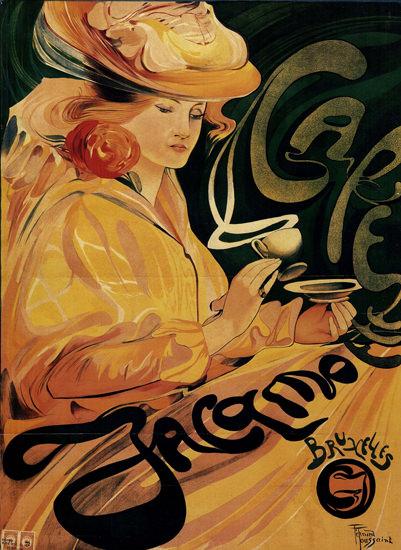 Jacamotte Cafe Bruxelles Belgium Art Nouveau | Sex Appeal Vintage Ads and Covers 1891-1970