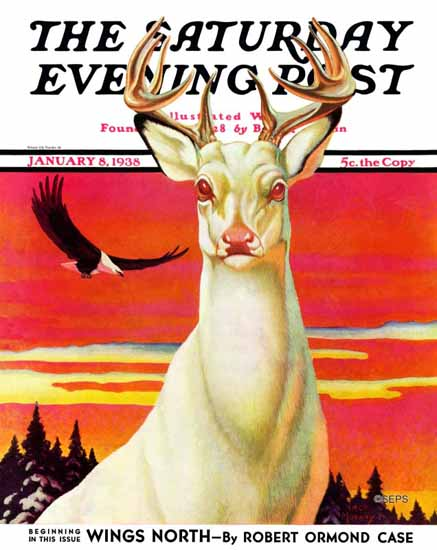 Jack Murray Saturday Evening Post Albino Deer 1938_01_08 | The Saturday Evening Post Graphic Art Covers 1931-1969