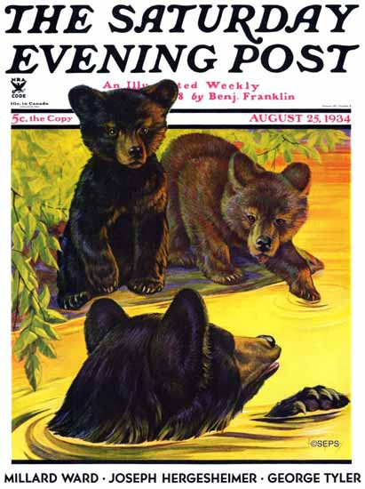 Jack Murray Saturday Evening Post Bear and Cubs in River 1934_08_25 | The Saturday Evening Post Graphic Art Covers 1931-1969