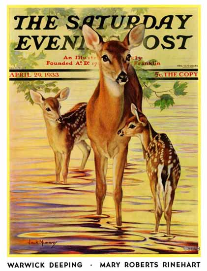 Jack Murray Saturday Evening Post Doe and Fawns 1933_04_29 | The Saturday Evening Post Graphic Art Covers 1931-1969