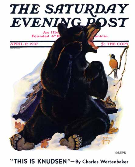 Jack Murray Saturday Evening Post End of Hibernation 1937_04_17 | The Saturday Evening Post Graphic Art Covers 1931-1969