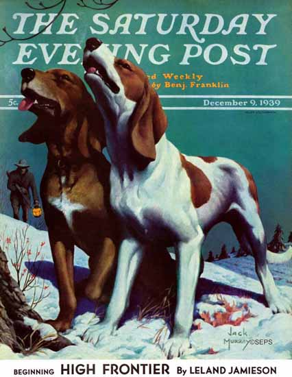 Jack Murray Saturday Evening Post Hound Dog 1939_12_09 | The Saturday Evening Post Graphic Art Covers 1931-1969