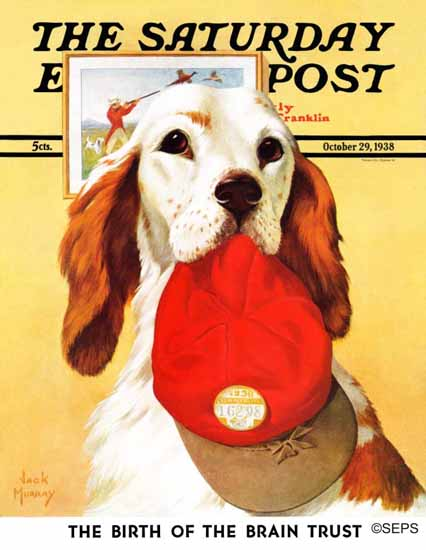 Jack Murray Saturday Evening Post Hunting Dog and Cap 1938_10_29 | The Saturday Evening Post Graphic Art Covers 1931-1969
