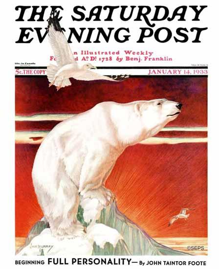 Jack Murray Saturday Evening Post Polar Bear on Iceberg 1933_01_14 | The Saturday Evening Post Graphic Art Covers 1931-1969