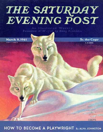 Jack Murray Saturday Evening Post White Wolves 1941_03_08   The Saturday Evening Post Graphic Art Covers 1931-1969
