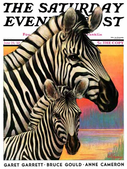 Jack Murray Saturday Evening Post Zebras 1932_06_25 | The Saturday Evening Post Graphic Art Covers 1931-1969