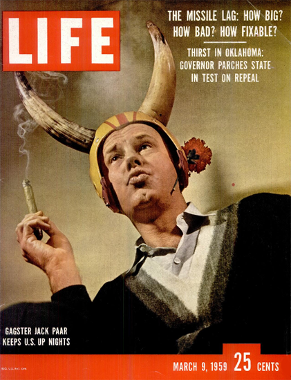 Jack Paar Late Nights Light of TV 9 Mar 1959 Copyright Life Magazine | Life Magazine Color Photo Covers 1937-1970