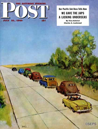 Jack Welch Saturday Evening Post Highway Patrol 1949_07_16 | The Saturday Evening Post Graphic Art Covers 1931-1969