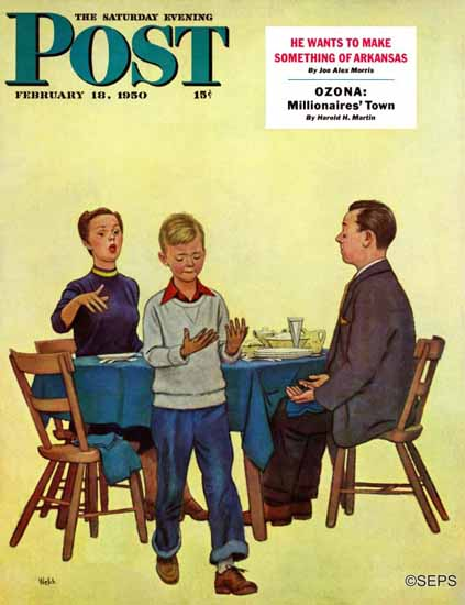 Jack Welch Saturday Evening Post Wash Your Hands 1950_02_18 | The Saturday Evening Post Graphic Art Covers 1931-1969