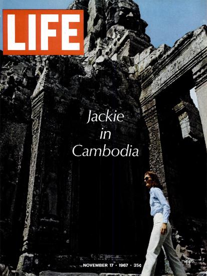 Jacky Kennedy in Cambodia 17 Nov 1967 Copyright Life Magazine | Life Magazine Color Photo Covers 1937-1970