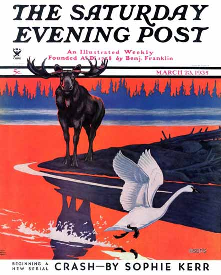 Jacob Bates Abbott Saturday Evening Post Moose and Goose 1935_03_23 | The Saturday Evening Post Graphic Art Covers 1931-1969