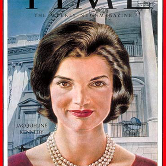 Jacqueline Kennedy Time Magazine 1961-01 by Boris Chaliapin crop | Best of Vintage Cover Art 1900-1970