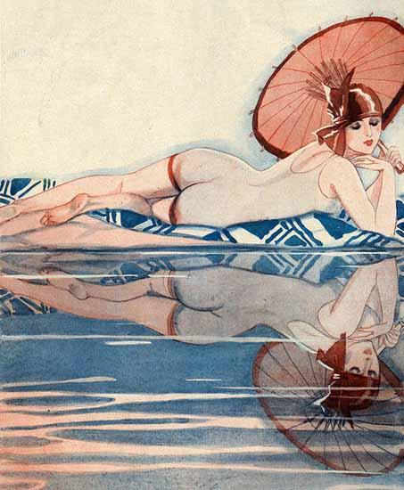Jacques Leclerc La Vie Parisienne 1920s Les Eaux Brave page | La Vie Parisienne Erotic Magazine Covers 1910-1939