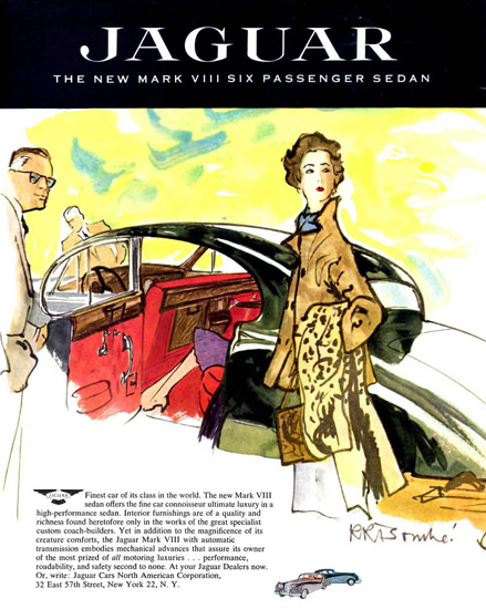 Jaguar Lady Mark VIII Six Passenger Sedan 1957 | Sex Appeal Vintage Ads and Covers 1891-1970