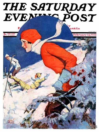 James C McKell Saturday Evening Post Woman Skier 1931_02_14   The Saturday Evening Post Graphic Art Covers 1931-1969
