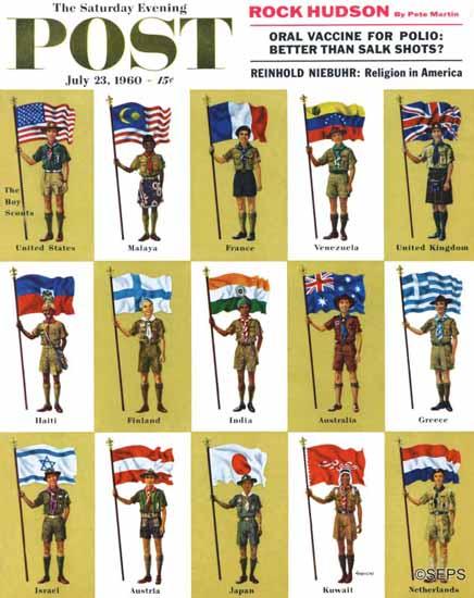 James Lewicki Saturday Evening Post International Boy Scouts 1960_07_23 | The Saturday Evening Post Graphic Art Covers 1931-1969