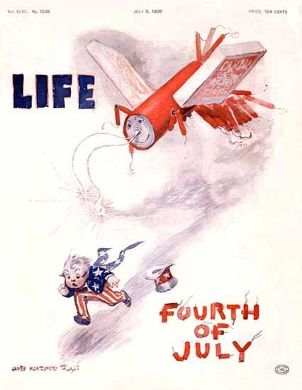James Montgomery Flagg Life Humor Magazine 1906-07-05 Copyright | Life Magazine Graphic Art Covers 1891-1936