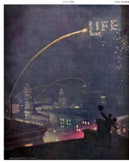 James Montgomery Flagg Life Humor Magazine 1908-07-02 Copyright   Life Magazine Graphic Art Covers 1891-1936