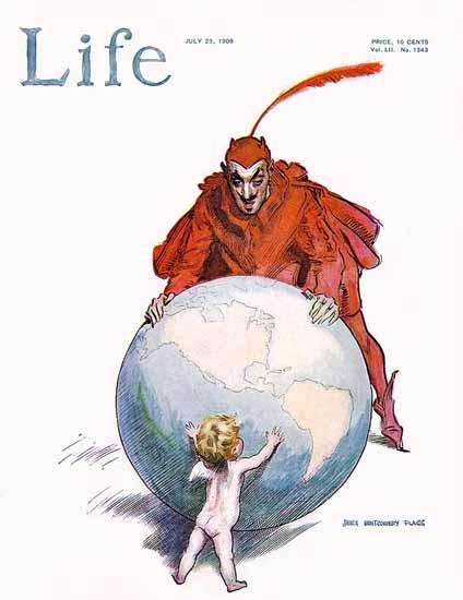 James Montgomery Flagg Life Humor Magazine 1908-07-23 Copyright | Life Magazine Graphic Art Covers 1891-1936