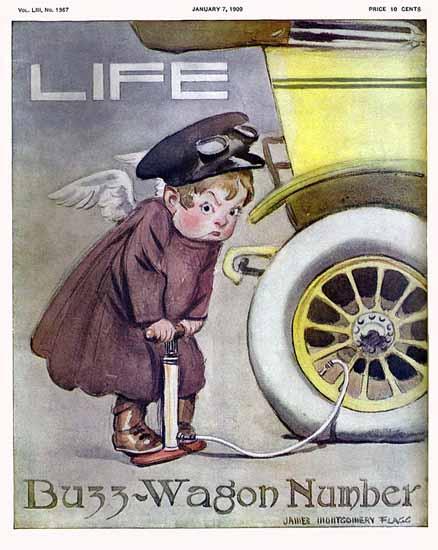 James Montgomery Flagg Life Humor Magazine 1909-01-07 Copyright | Life Magazine Graphic Art Covers 1891-1936
