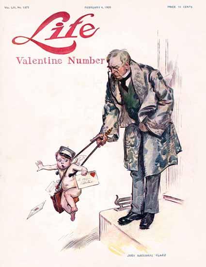 James Montgomery Flagg Life Humor Magazine 1909-02-04 Copyright | Life Magazine Graphic Art Covers 1891-1936