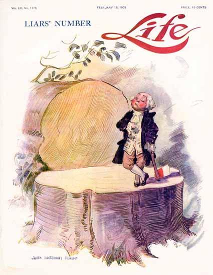 James Montgomery Flagg Life Humor Magazine 1909-02-18 Copyright | Life Magazine Graphic Art Covers 1891-1936