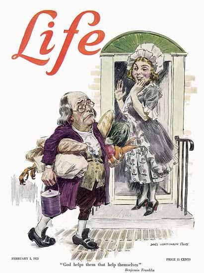 James Montgomery Flagg Life Humor Magazine 1923-02-01 Copyright | Life Magazine Graphic Art Covers 1891-1936