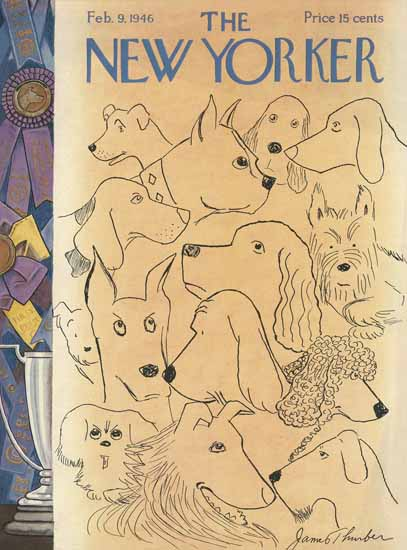 James Thurber The New Yorker 1946_02_09 Copyright | The New Yorker Graphic Art Covers 1946-1970
