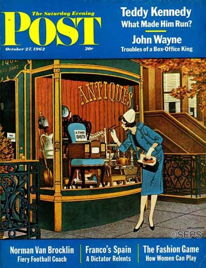 James Williamson Saturday Evening Post Antique TV 1962_10_27 | The Saturday Evening Post Graphic Art Covers 1931-1969
