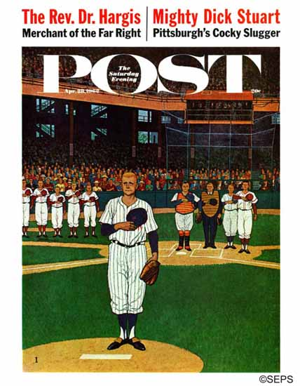 James Williamson Saturday Evening Post Baseball Fight 1962_04_28 | The Saturday Evening Post Graphic Art Covers 1931-1969