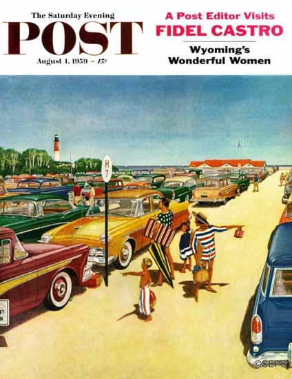 James Williamson Saturday Evening Post Beach Parking Lot 1959_08_01 | The Saturday Evening Post Graphic Art Covers 1931-1969