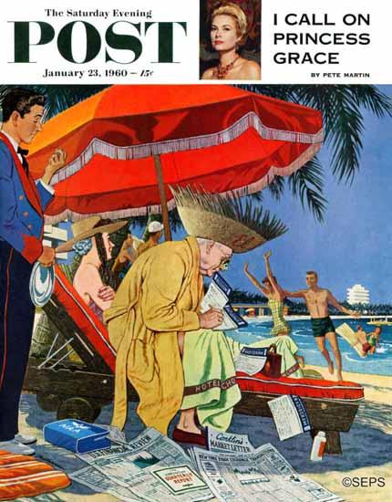 James Williamson Saturday Evening Post Business at Beach 1960_01_23 | The Saturday Evening Post Graphic Art Covers 1931-1969