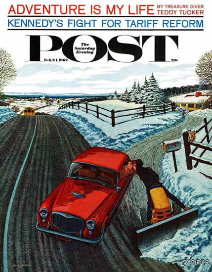 James Williamson Saturday Evening Post Kiss At End Driveway 1962_02_24   The Saturday Evening Post Graphic Art Covers 1931-1969