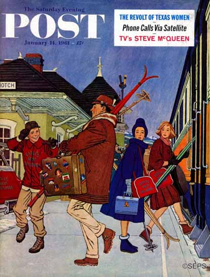 James Williamson Saturday Evening Post Wrong Week to Ski 1961_01_14   The Saturday Evening Post Graphic Art Covers 1931-1969