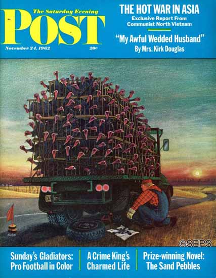 Jan Balet Artist Saturday Evening Post Turkey Truck Has Flat 1962_11_24 | The Saturday Evening Post Graphic Art Covers 1931-1969