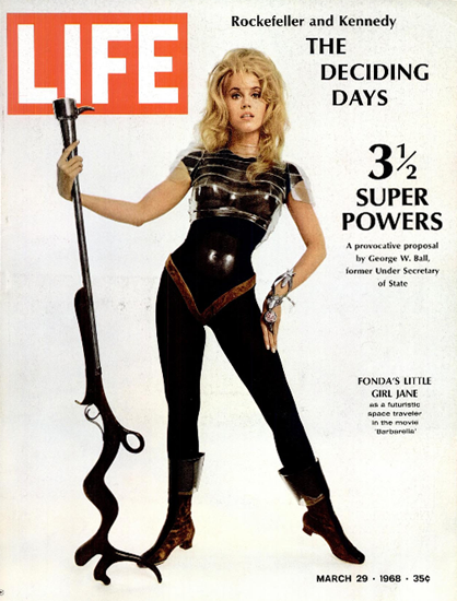 Jane Fonda in Barbarella in Space 29 Mar 1968 Copyright Life Magazine | Life Magazine Color Photo Covers 1937-1970