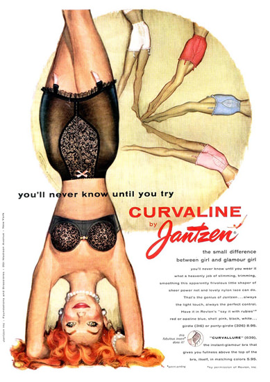 Jantzen Curvaline Girl Lingerie Headstand Until A | Sex Appeal Vintage Ads and Covers 1891-1970