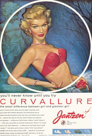 Jantzen Curvallure Lingerie Girl Pink Pete Hawley | Sex Appeal Vintage Ads and Covers 1891-1970