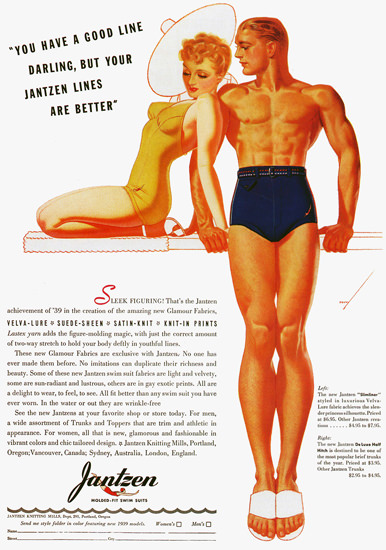 Jantzen Lines Are Better Swim Suits George Petty | Sex Appeal Vintage Ads and Covers 1891-1970